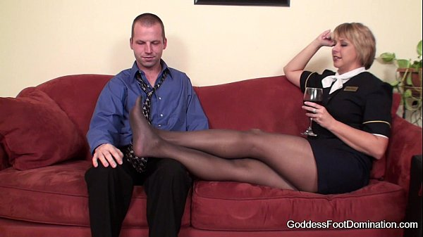 Pantyhose Footjob - Flight Attendants Little Black Book Thumb