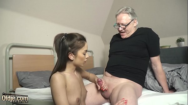 First time deepthroat blowjob for a grandpa from a young girl
