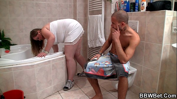 Big belly plumper is banged in the bathroom
