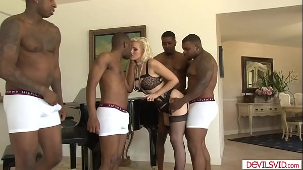 Sexy blonde ganged by 4 black dudes