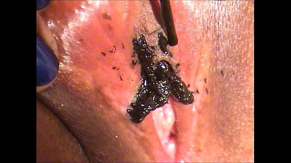 Black Nailpolish and silver marker on pussy Thumb