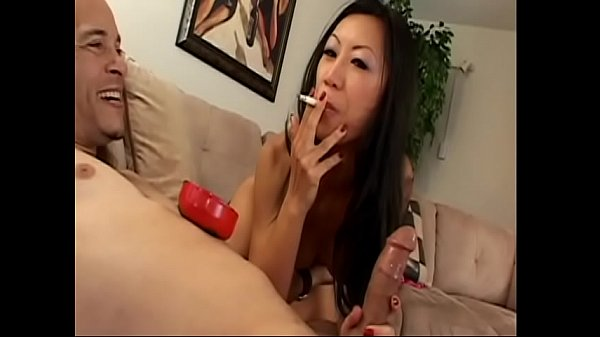 Exotical slut with slant eyes Tia Ling got permission from her white client to smoke cigarette while she was going down and doing tricks