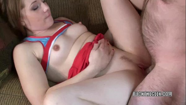 Cute cheerleader Lina is getting fucked by a lucky geek