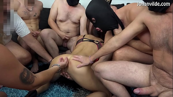 Swedish girl Sanna Rough fucked in the ass in gangbang!