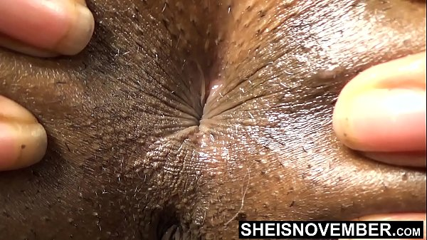 Sphincter Ass Hole Close Up Black Babe Deep Inside Butt Crack With Short Hairs , Skinny Msnovember Spreading Young Ass Cheeks Apart Winking Butthole , Laying Prone With Closed Legs And Thick Thighs HD Sheisnovember