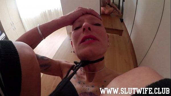 Submissive Tied Up And Gagged Bald Headed Slave With Spit All Over Her Fuckface Is Used On A Table For A Sloppy Deepthroat And Pussyfuck Thumb