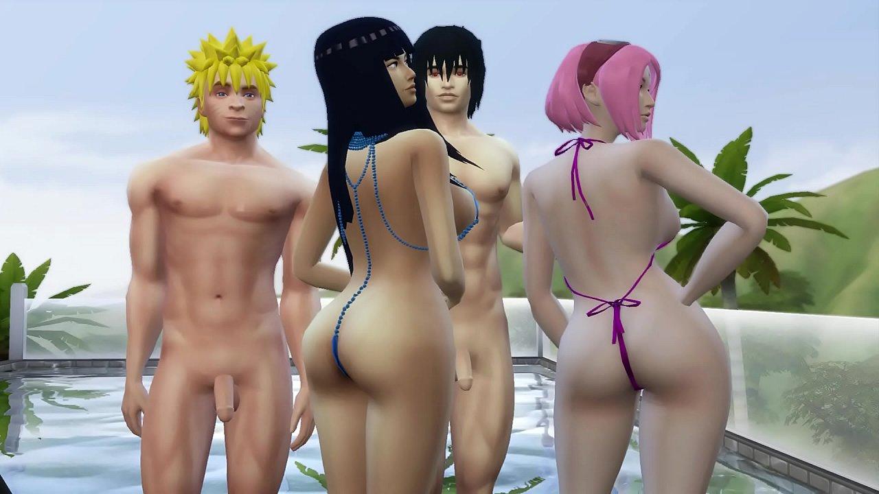 18 Esclava Abusada Porno intercambio de esposas con hinata y sakura día de piscina