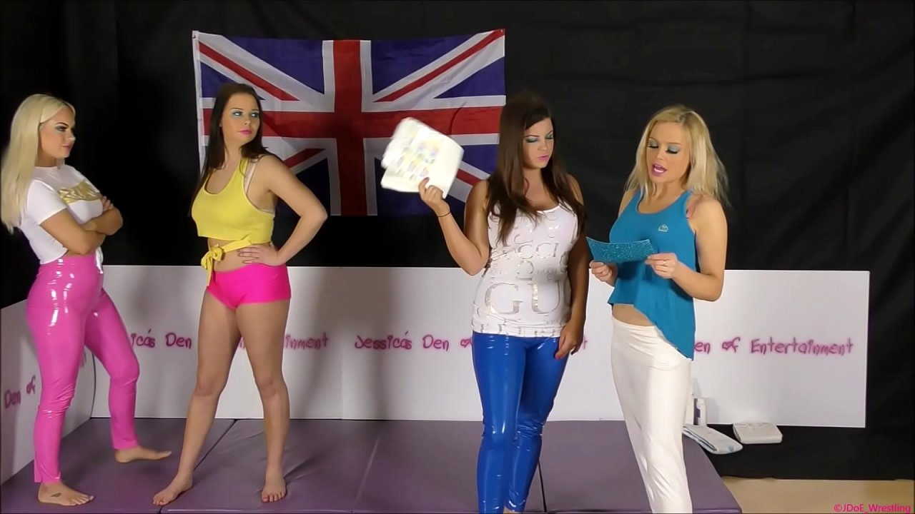 Tag-Team Bra and Panties Match (Strip-Wrestling Match) w, Loser gets strapped in a nappy (diaper)!! ~ Tammy Sloane & Jessica Morgan VS Georgina Phillips & Charlotte Anderson