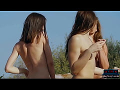 Three lesbian girlfriends from the Ukraine outd...