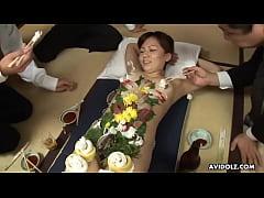 Old perverted businessman eat some sushi of hot...