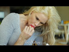PureMature Housewife with big tits loves to eat...