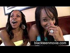 Two black teens share white boy in Ebony Threes...