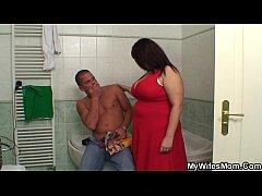 Busty mother inlaw helps him cum