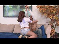 Buffed up stud drills his sexy long-legged girl