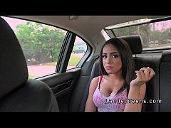 Petite busty teen bangs her ride in public