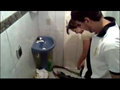 Mexican teens caught fucking in public restroom