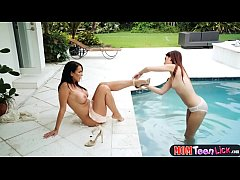 Teen caught in neighbors pool by a MILF who wan...
