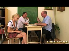 horny Naughty schoolgirl in wild threesome