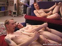 Group of straight twink amateur wank off together