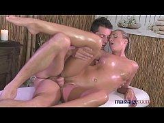 Massage Rooms Sweet sensual blonde has intense ...