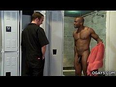 Interracial gay fuck in the locker room