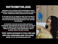 Sexy siren Hotkinkyjo fuck her ass with sea cre...