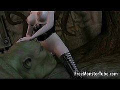 3D babe fucking an orc anally with a strap on d...