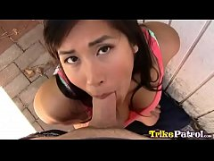 Filipina-American babe Mia chows down on white ...