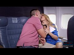 Big tits blonde stewardess joins the mile high ...