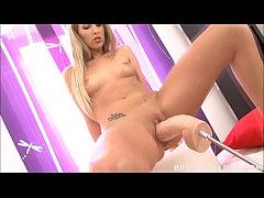 Tight blonde Jenny Simons gaped by brutal dildo...