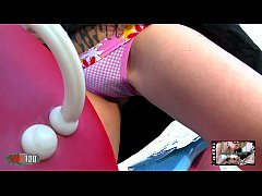 Cute young girl peeing her panties on a public ...
