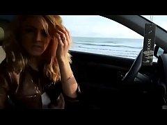 Sexy blonde masturbates in car outdoor - watch ...