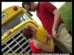 Redhead schoolgirl getting fucked outside part 1