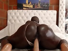 Perfect black ass hot ride dildo on cam