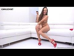 Beautiful girl take a three cocks into anal