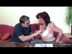 German Mom Show His Step-son how to Fuck a Girl