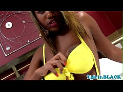 Busty ebony trans babe plays with her cock