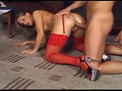 Glamour babe fucking in thigh high nylon and heels