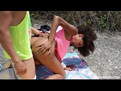 Curly haired ebony teen gets fucked outdoors