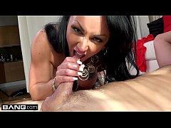Latina MILF Ashton Blake flashes her pussy in a...