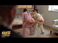 Fake Hostel Young girls in pajamas have fun wit...