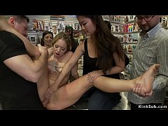 Blonde butt fucked in public shop