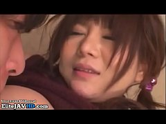 Japanese college girl with huge tits has threesome