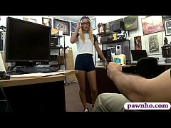 Tight blond babe sucks off and nailed by pawnsh...