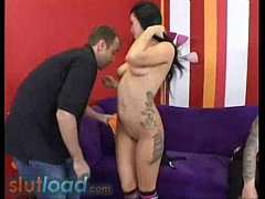 Sexy chick gets fucked hard till she cums while...