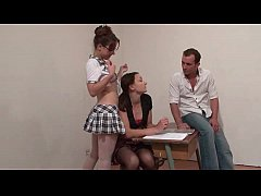 Two french school girl sharing a cock with thei...