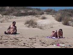 Beach Dogging! Ainara fucks a voyeur and a couple join the fun