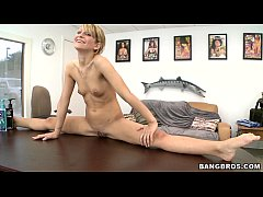 Petite blonde spinner, Caprice, gets a face ful...