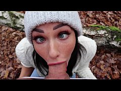 Freckled Teen SUCKS & SWALLOWS in the Woods - S...