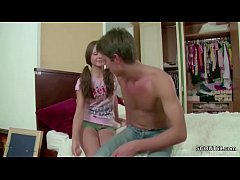 Brother Seduce Extrem Skinny Step-Sister and Cu...
